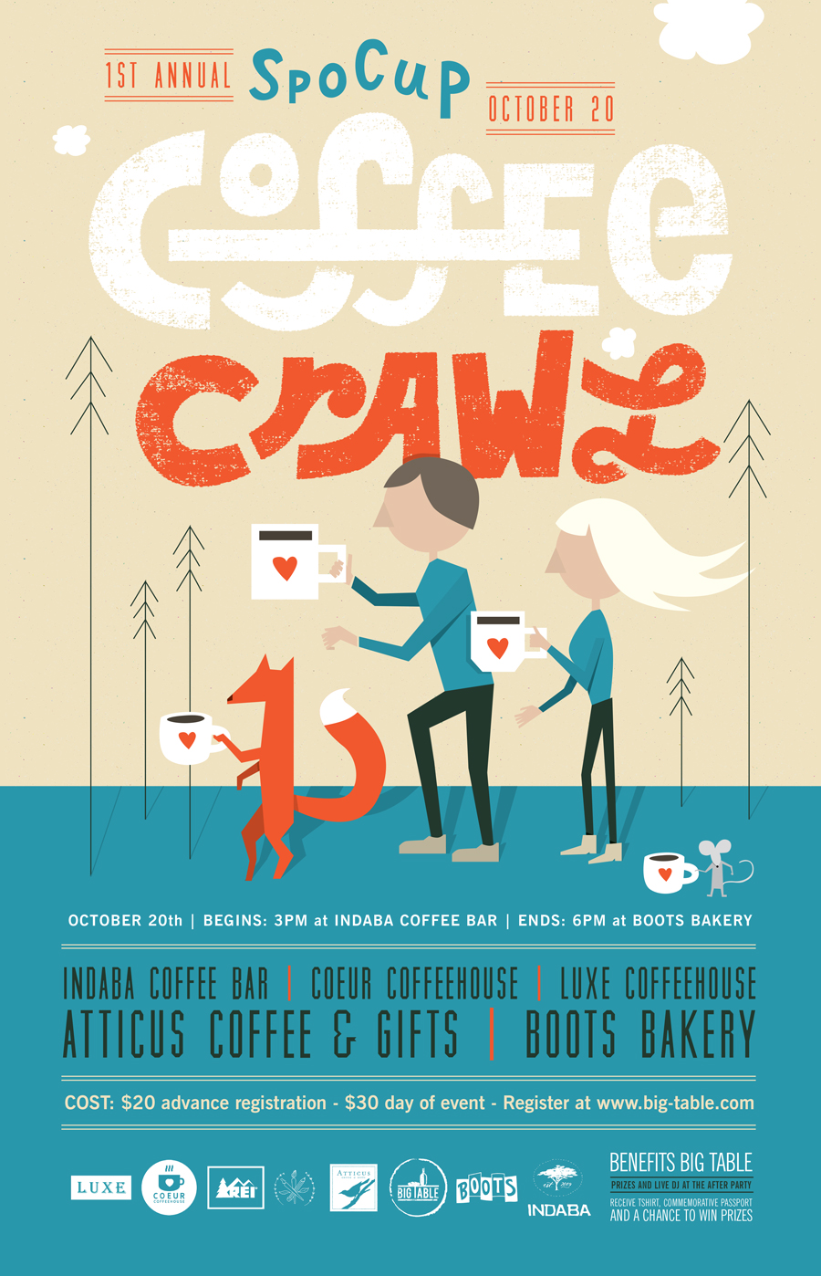 Coffee Crawl Spokane event branding by Karli Ingersoll