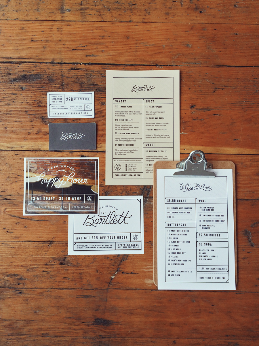 The Bartlett Menu design by Karli Ingersoll